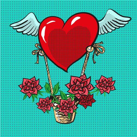 Hart met vleugels die het pop-art grappige vector vliegen van de rozenmand