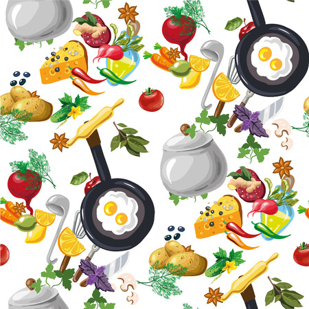Vector seamless pattern with vegetables hand drawn Illustration