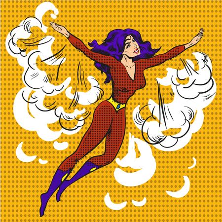 Vector hand drawn cartoon character pop art superwoman