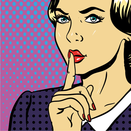 silent: Young woman showing Be silent sign pop art comic