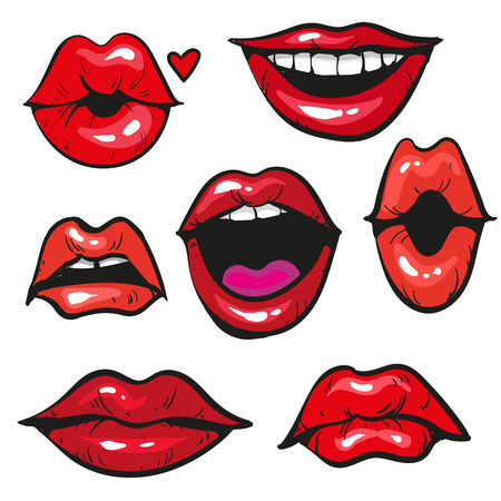 sexy tongue: Womans lip gestures set vecor illustration Illustration
