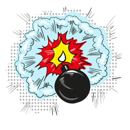 Cartoon bomb with fire pop art style comic illustration