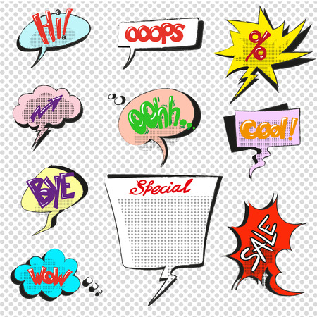 awe: Comic pop art speech bubbles vector collection Illustration