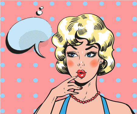 Pin up woman wondering. Pop art retro comic blond beauty Ilustração