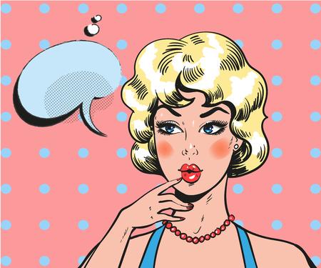 Pin up woman wondering. Pop art retro comic blond beauty Illustration
