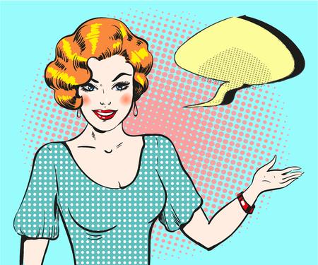 Pop art woman with speech bubble, pin up retro style woman