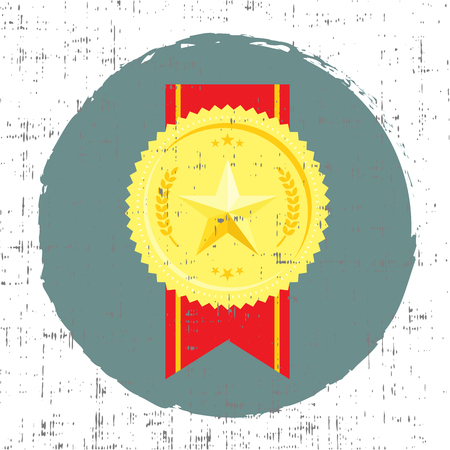 Golden medal with star vector illustration in retro style with screen texture Illustration