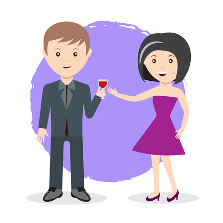 Man and woman toast with glass of wine flat style characters