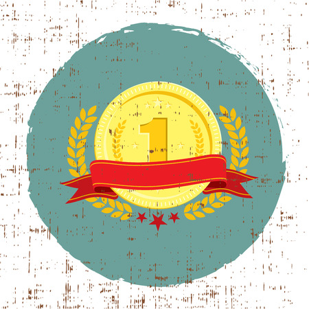 Trophy cup coin with red banner for first place grunge texture