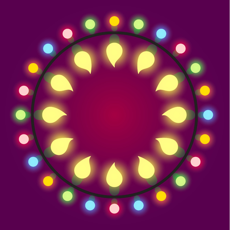 Light bulb colorful holiday or casino lights frame