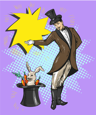Vintage magician with rabbit in hat