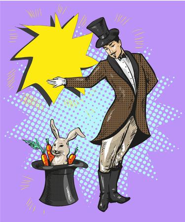 모자에 토끼와 빈티지 마술사