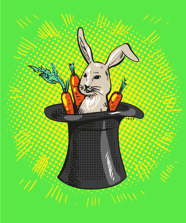 A cute cartoon magicians bunny rabbit coming out of a top hat with carrots