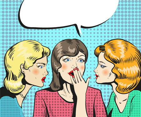 Women talking whispering pop art retro comic style illustration