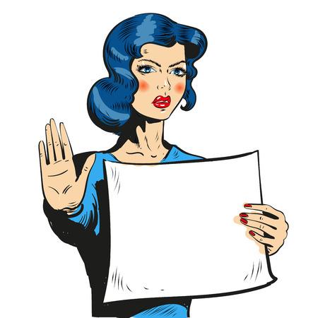 Komische Art der Frau, die Stoppschild zeigt Vektorgrafik