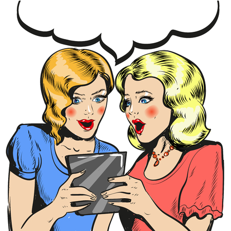 Women surprised holding tablet comic style illustration