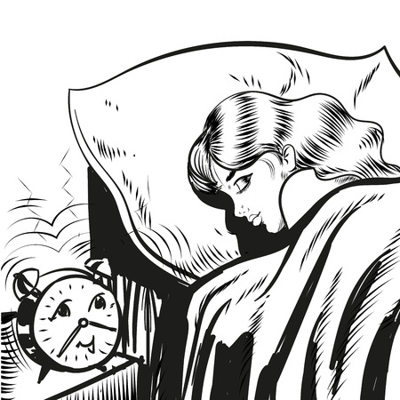 woman lying in bed: Woman sleeping with alarm line illustration