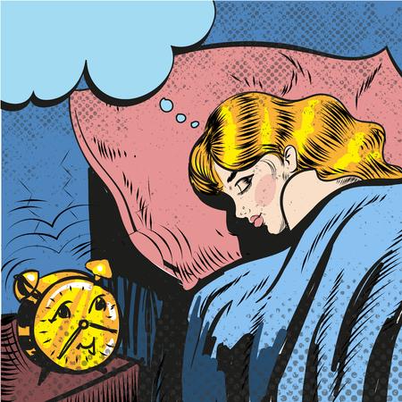 Pop アート コミック スタイルの図を覚ます目覚ましで寝ている女性