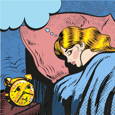 Woman sleeping with alarm waking up pop art comic style illustration