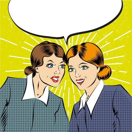 listeners: Cartoon pop art comic business women having a conversation Illustration
