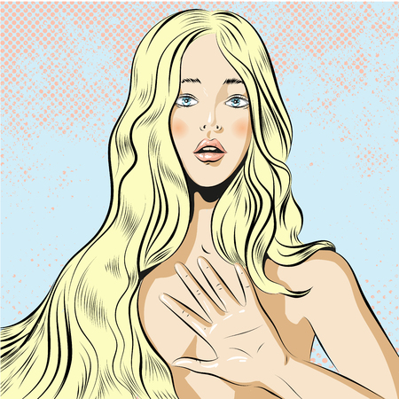 Beautiful woman with long blond hair qestuing NO or stop vector Illustration
