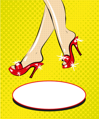 Legs of woman in red shoes on heels pop art comic fashion