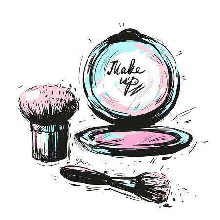 Verschiedene Kosmetik Make-up Pinsel isoliert auf weißem Hintergrund