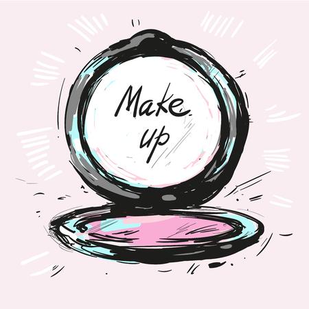 Make up powder hand drawn fashion illustration vector Illustration