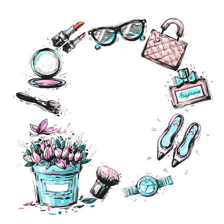 stage makeup: Cosmetics and fashion elements frame template vector