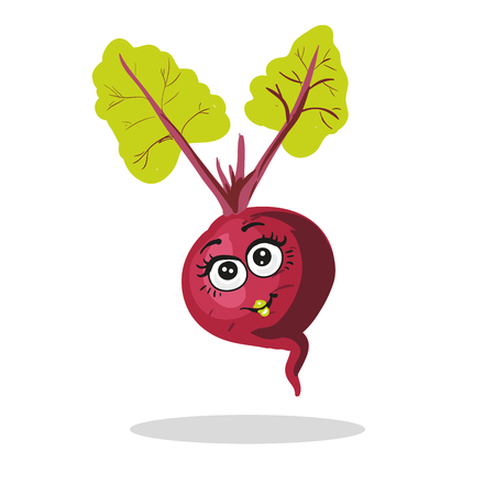 Cute beet character girl with leaves isolated on white