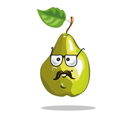 Cartoon pear funny serious character in glasses and mustache