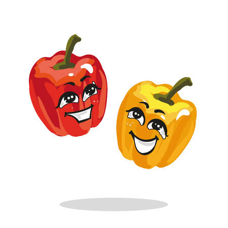 Cartoon characters red and yellow paprika loughing Ilustração