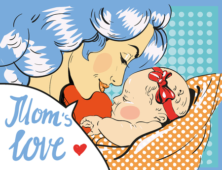 Mothers day. Mother and daughter in pop art retro comic style. Vector art