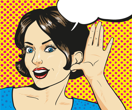 ささやくような声を聞いて驚きの顔を持つ女性  イラスト・ベクター素材
