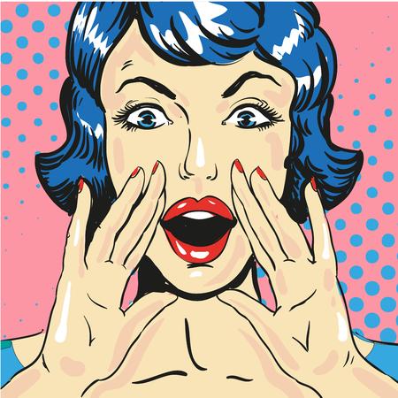 Donna, urlando, annunciare, notizie, pop, arte, comico, stile, vettore