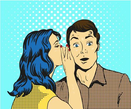 Man en vrouw fluisteren pop art vectorillustratie