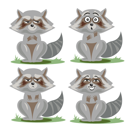 Raccoon collection with different emotions Illustration