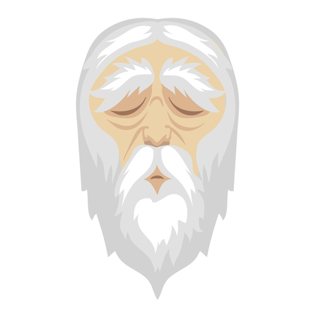A wise, old cartoon man with and a long white beard. Illustration