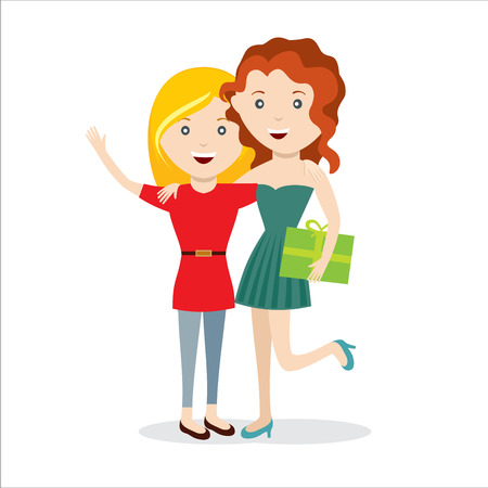 mamma: Girls with gift happy jump friends vector