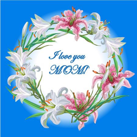 textspace: Mothers day greeting card with flowers frame lily Illustration