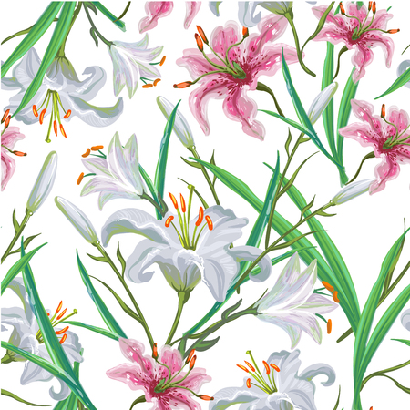Seamless pattern with flowers. Iris. Lily. Vector. Hand drawn. Stock Illustratie