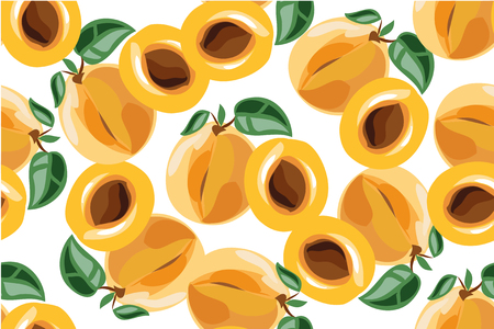 closely: Apricot seamless pattern on white.
