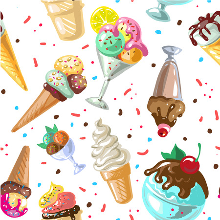 Icecream seamless pattern design vector isolated on white.