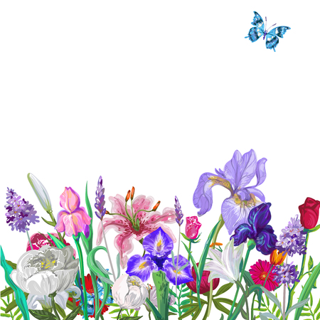 Tender floral empty template with butterfly, vector hand drawn design on white for stock