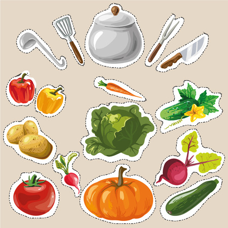 drawing pin: Set collection with vegetables stickers patches fashion badges