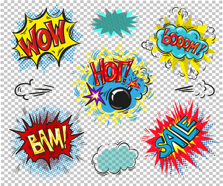 Collection of seven multicolored comic sound Effects sale Illustration