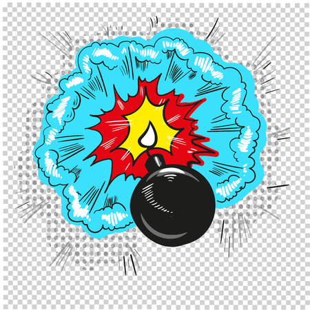 old bomb starting to explode comic book design Illustration