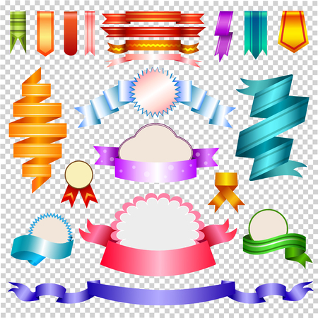 Corners And Ribbons, Isolated On transparent Background, Vector Illustration