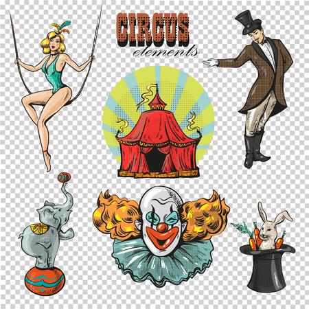 Retro raccolta delle icone del fumetto del circo di chapiteau di viaggio con la tenda e gli animali selvatici addestrati