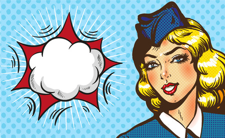 Stewardess airplane travel tourism pop art retro style. Business concept success. Aviation transportation and flights